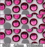 1440pcs ss20 4.8mm Fuchsia Upscale Quality strass crystal faltback hotfix rhinestones iron on stones DIY  accessories