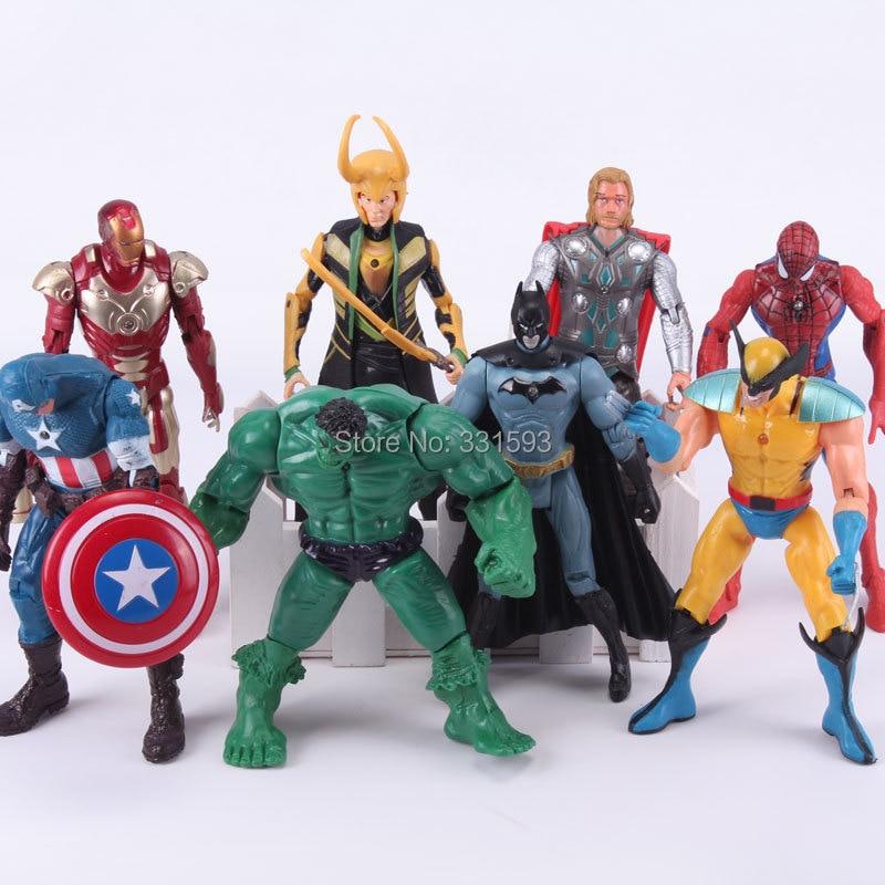 8pcs/set Superheroes Iron Man Thor Loki Spiderman Batman Hulk Captain America PVC Action Figures Toys captain america 3 civil war iron man vision spiderman war machine black panther pvc action figures toys 5pcs set
