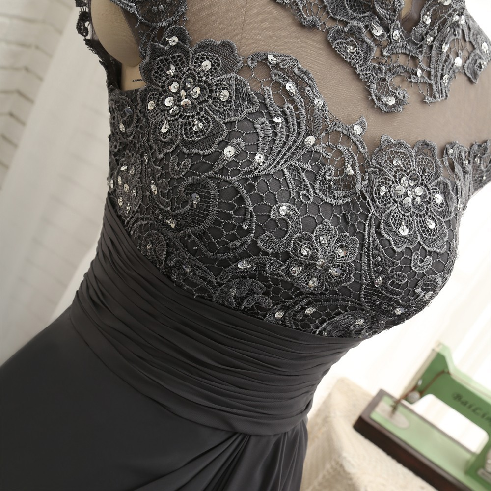 Open Back 2018 Mother Of The Bride Dresses Mermaid Cap Sleeves Gray Lace Beaded Long Evening Dresses Mother Dresses For Wedding 7