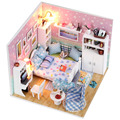 M003  miniature bedroom hangmade dollhouse new hongda diy wooden doll house include furniture,Light,dust cover