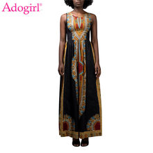 Adogirl Vintage Ethnic Print Summer Maxi Dress Fashion Women Sleeveless Empire Long Party Dress Female Sundress Tunic Vestidos(China)