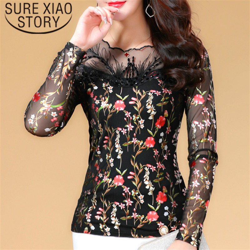blusas mujer de moda 2018 lace blouse shirts  Hollow Out Full Office Lady  Regular  Floral  O-Neck Casual Slim fit 1455 45