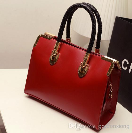 ffb6bc65f4 2015 Sale Top Zipper Stylish black women handbag ladies Pu Leather Tote Bag  pink red blue-in Wristlets from Luggage   Bags on Aliexpress.com