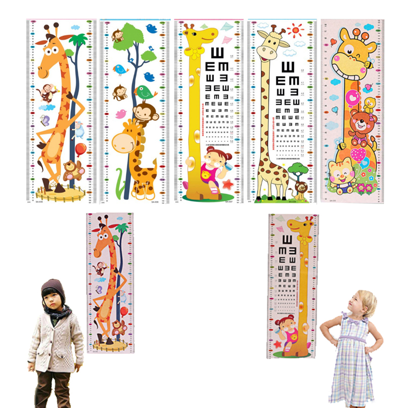 Cartoon Home Bedroom Visual Chart Nursery Decorations PVC Kids Height Chart 1Sheet Wall Stickers
