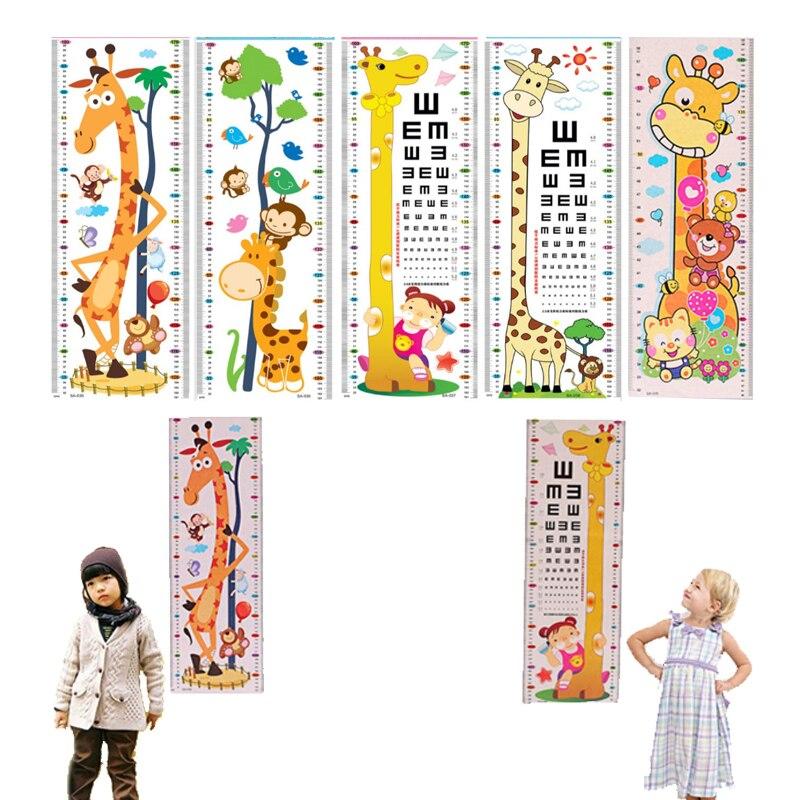 Cartoon Home Bedroom Visual Chart Nursery Decorations PVC Kids Height Chart 1Sheet Wall Stickers