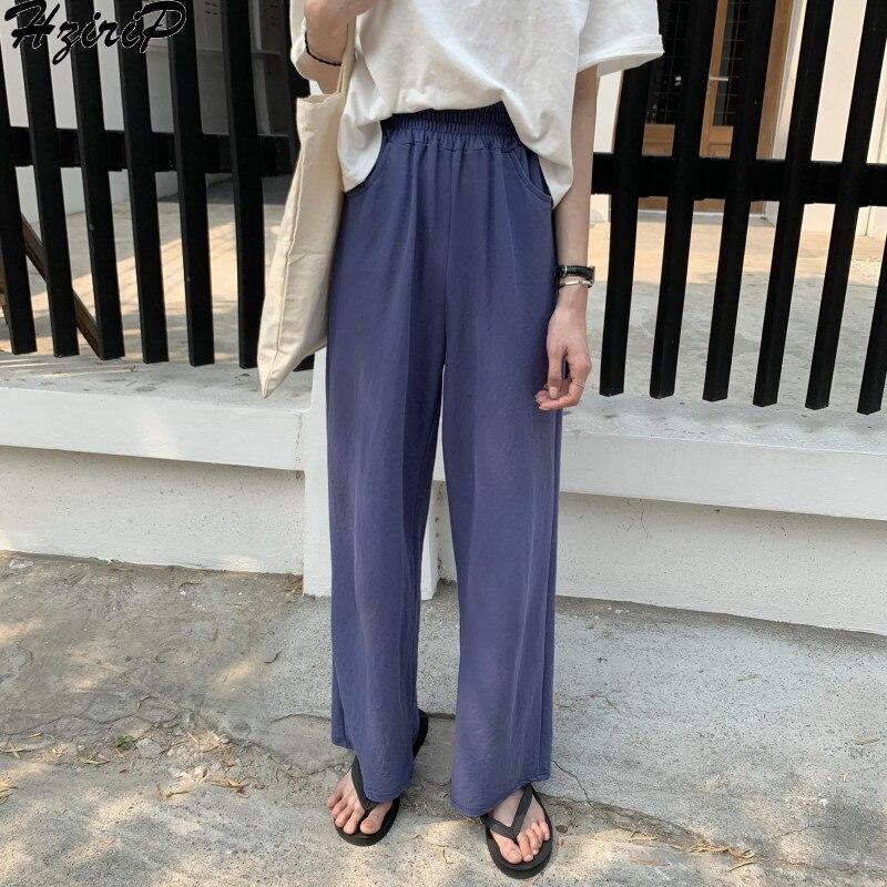 HziriP Korean 2019 Summer Women Trousers Fashion Solid Wild Soft Slim Elastic High Waist Loose Casual   Wide     Leg     Pants   3 Colors