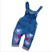 Girls Clothing Jeans Overalls 2018 New Fashion Autumn Children Strap Cartoon Denim Bow Jumpsuit Kids Girls Overalls Pants 3ov001