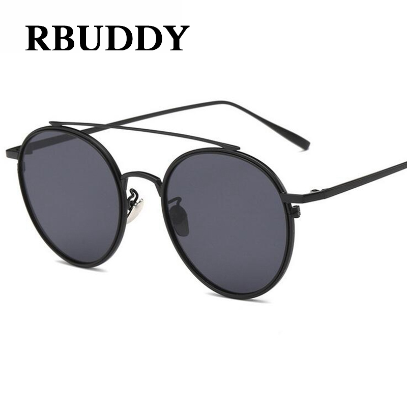 RBUDDY 2017 Luxury Brand Vintage Women Sunglasses Men Black Round Frame Round Glasses Summer Female Eyewear Sun Glasses UV400 reflection