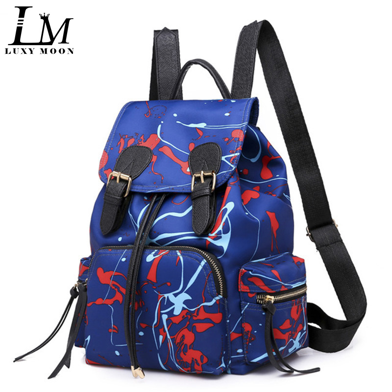 Backpack Graffiti Trend-Bag Small-Bag Nylon Fashion Women And Moon Luxy Send Two-Piece