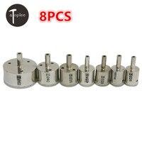 8PCS 25mm 60mm Diamond Drill Bits Set Hole Saw Cutter Tool Glass Drill Bit For Glass