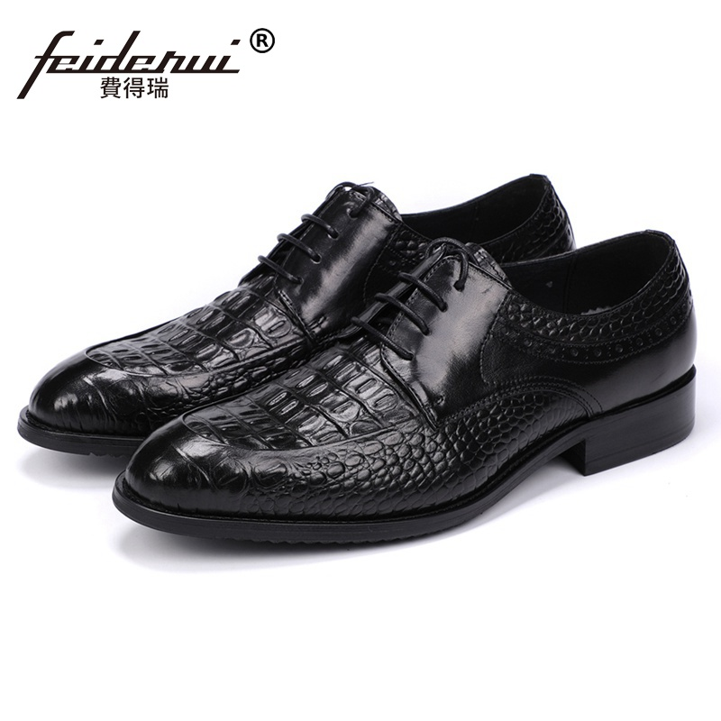 New Luxury Designer Man Handmade Derby Wedding Shoes Genuine Leather Round Toe Mens Formal Dress Party Alligator Footwear JS182New Luxury Designer Man Handmade Derby Wedding Shoes Genuine Leather Round Toe Mens Formal Dress Party Alligator Footwear JS182