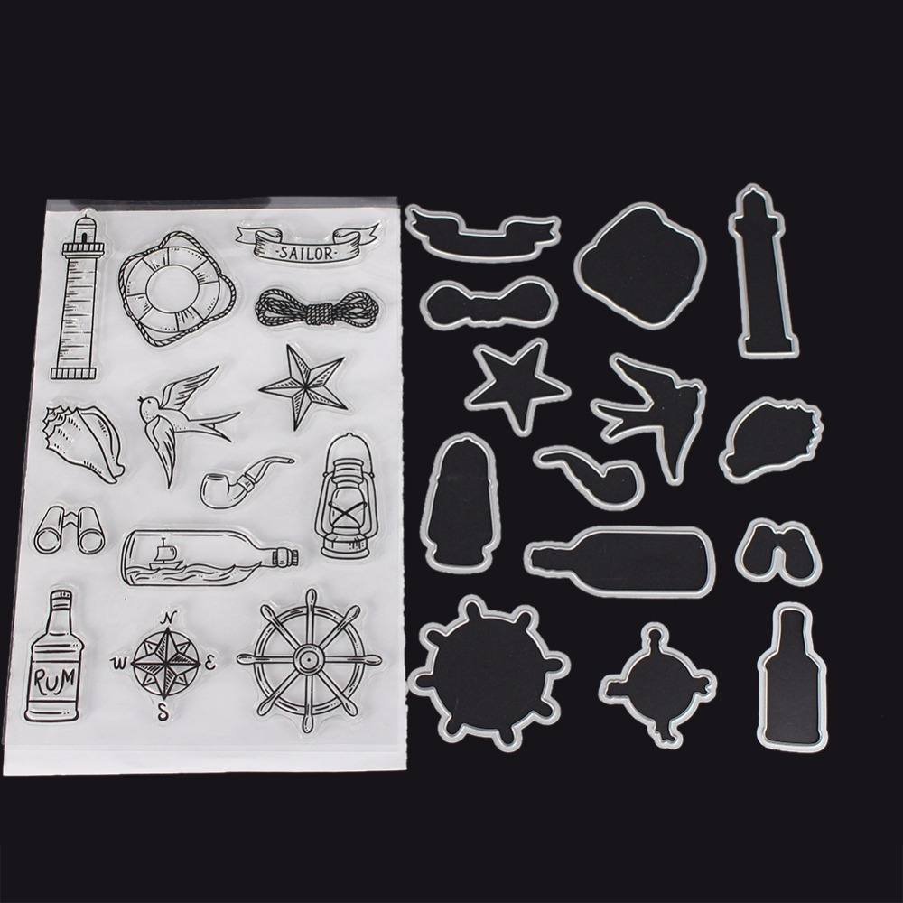 Navigation Sailor Series Stamp Cutting Die Set for DIY Scrapbooking Photo Album Cards Sailor Theme Dies Cut Stamp Sheets non standard die cut plastic combo cards die cut greeting card one big card with 3 mini key tag card