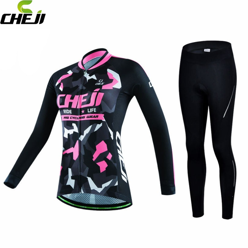 ФОТО 2017 CHEJI Women Cycling Jersey Long Sleeve Ultraviolet-Proof Bike Clothing Winter Breathable Polyester Long Bicycle Jersey