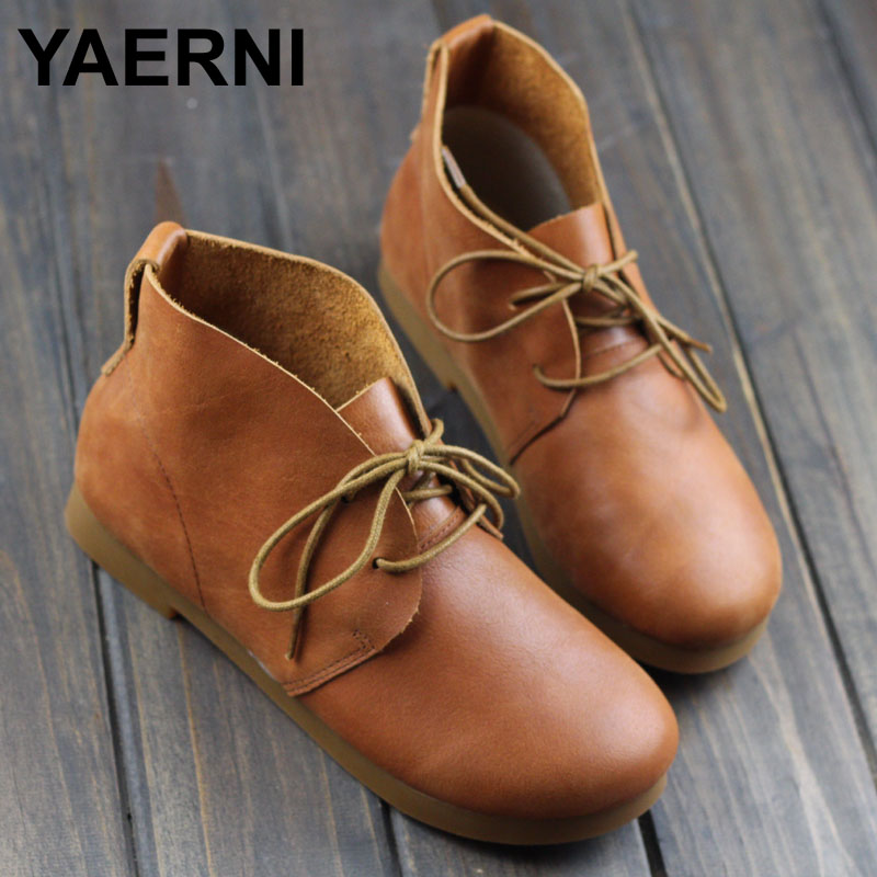 YAERNI  Woman Boots Plain Toe Lace up Ankle Boots for Women 100% Authentic Leather Ladies Boots Female Footwear