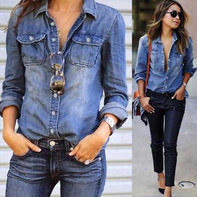 2019 Джинсовая блузка отложной воротник Повседневная синяя джинсовая рубашка с длинным рукавом модные женские Топы Блузка весенняя куртка сорочка Femme # E