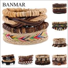 BANMAR 3 PCS/SET Vintage Leather Bracelet 2017 Charm Beads Jewelry Wristband boho Statement Bracelet for Women Men Bijoux