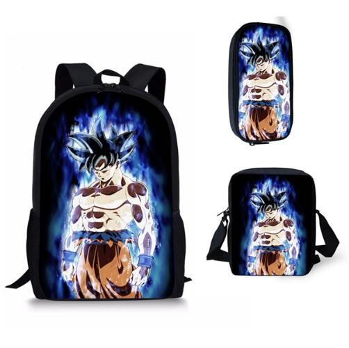 Fashion Dragon Ball Super Z Prints Boys 3PCS Schoolbags Blue Character Son Goku Vegeta Children's Backpacks Bookbags
