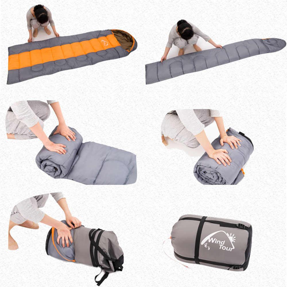 Ветряной Тур спальный мешок Кемпинг Конверт спальный мешок тепловой Взрослый зимний спальный мешок Открытый путешествия водонепроницаемый спальный мешок