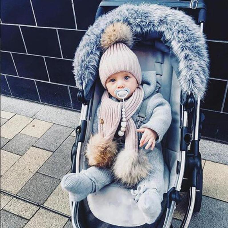 2 Pieces Baby Hat Cap Scarf Set for Girls Hat Real Fox Fur Balls Pom Pom Beanies Cap Kids Knitted Winter Childrens Hats
