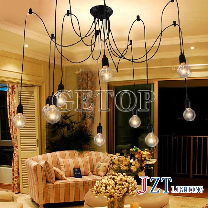 J best price vintage Chandelier mordern ceiling light For living room DIY Cluster Spider creative lamp fashion bedroom droplight 10 lights creative fairy vintage edison lamp shade multiple adjustable diy ceiling spider pendent lighting chandelier 10 ligh