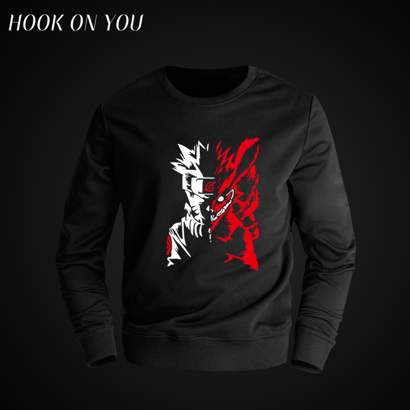 2017 Hot Anime Uzumaki Naruto Men O-Neck hoodies Cool Sweatshirts Casual Printed Round Collar Fleece Modern Tops Chic Clothing