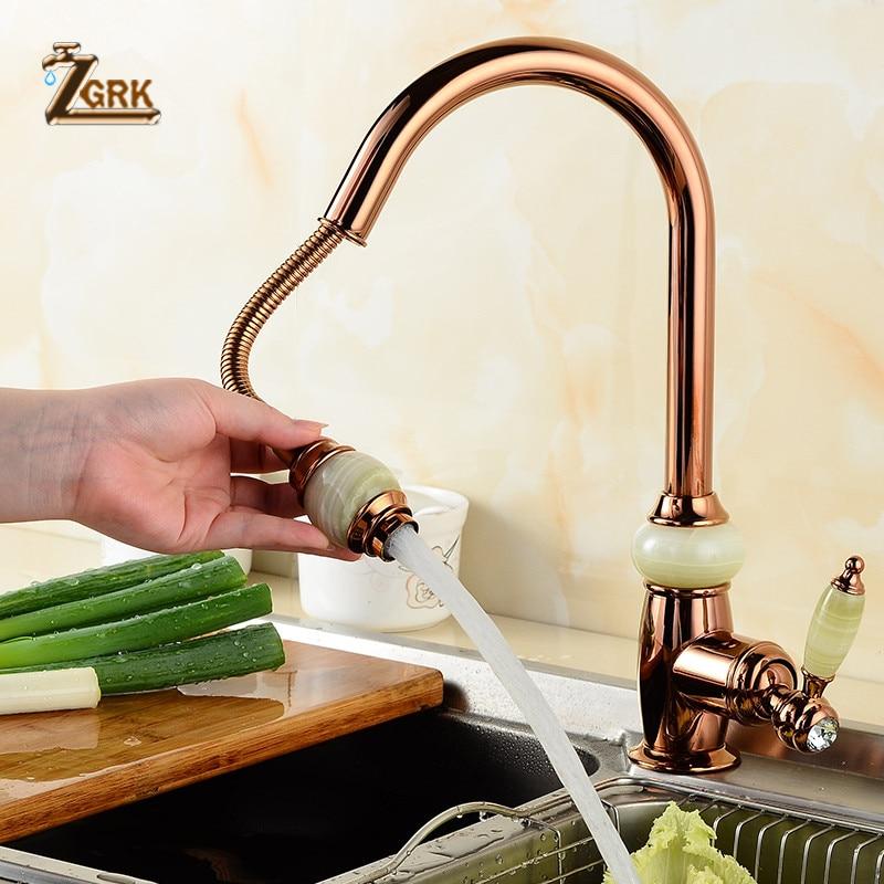 ZGRK European Style Natural Jade Kitchen Faucet Pull Out Hot Cold Water Brass Golden kitchen Mixer Taps SLT078S|Kitchen Faucets| - AliExpress