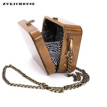 ZURICHOUSE Handmade Wooded Box Bag Women's Nature Arbor Unique Chain Day Clutches Luxury Retro Shoulder Wood Messenger Bags luxury antique wooded