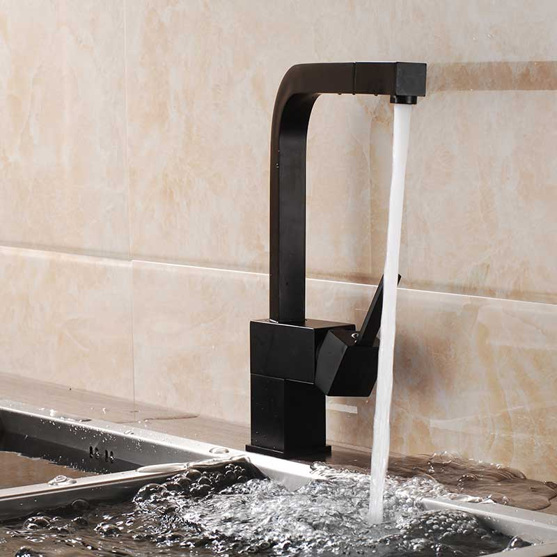 Image 5 - Black Pull Out Kitchen Sink Faucet Deck Mounted Bathroom Kitchen Tap 360 Rotation Spout Water Tap Brass Square Handle Mixer Tap-in Kitchen Faucets from Home Improvement