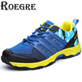 ROEGRE 2017 New Summer Breathable Mesh Shoes Men Lace Up Casual Outdoor Walking Shoes for Men Blue Green Grey Plus Size 45