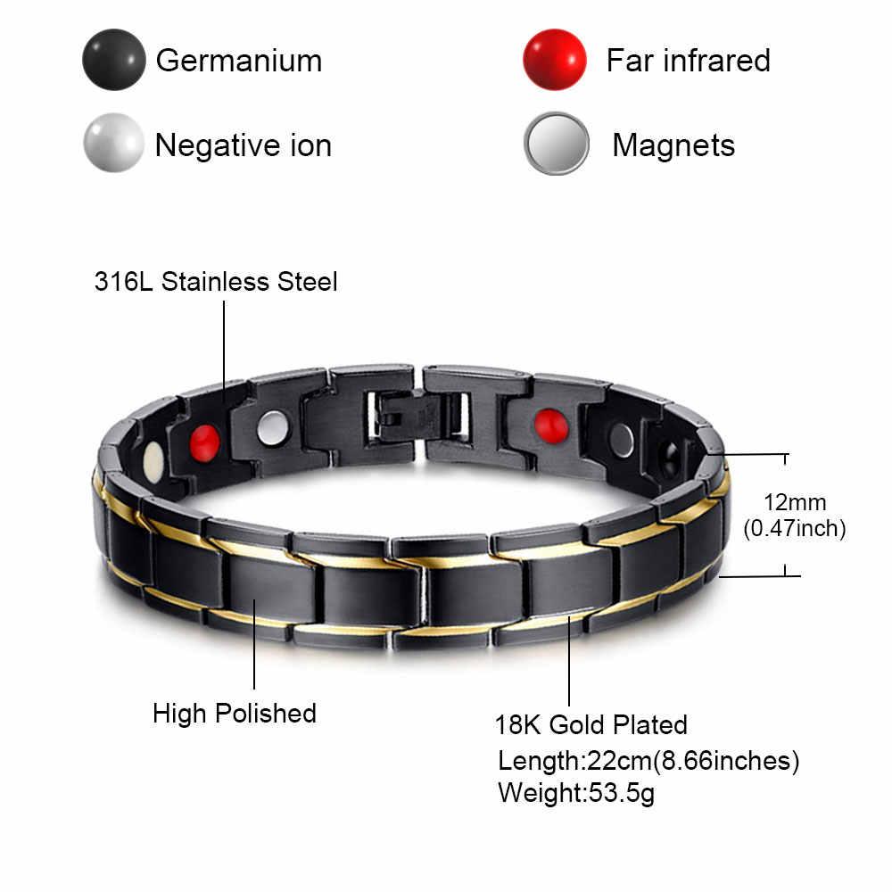 FINE4U B068 черный Для Мужчин's 316L Нержавеющаясталь здоровья Браслеты & браслеты для запястья Магнитная здоровый браслет оздоравливающие ювелирные изделия