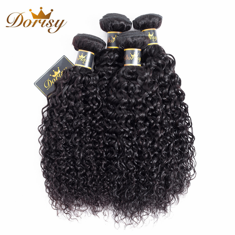 Dorisy Hair Pre-Colored Brazilian Kinky Curly 4 Bundles 100% Human Hair Weave Bundles Non Remy Natural Color Hair Extension