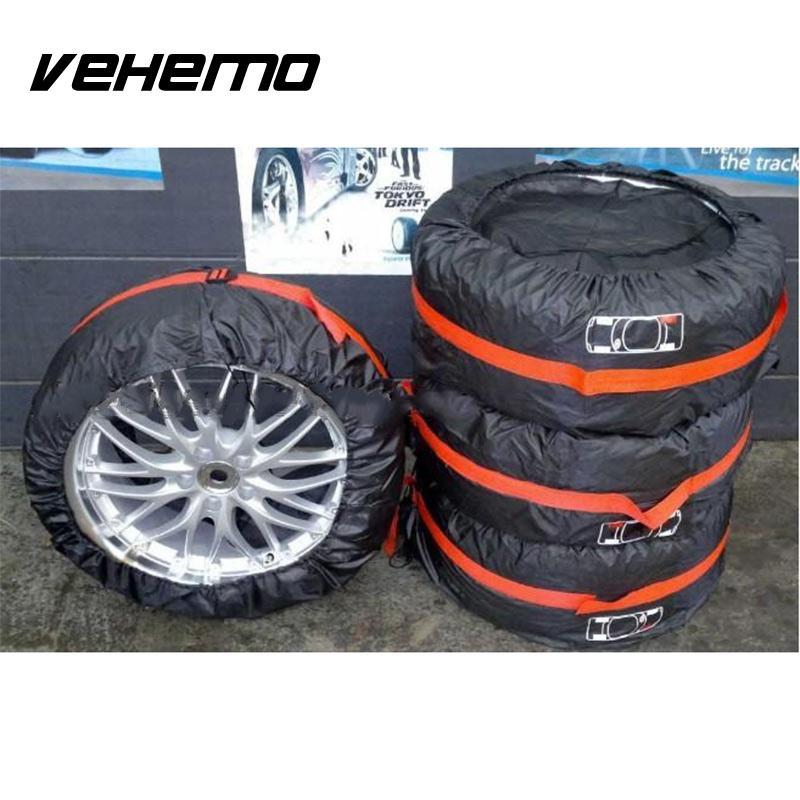 Prix pour 4 Pcs De Voiture Roue De Secours Tire Cover Anti-Poussière Sac Protecteur Carry Fourre-Tout Orange