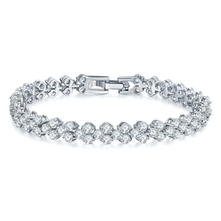 New Fashion Roman Style Vintage Bracelet Crystal from Swarovskis For Women Charm Silver Bracelets Bridal Wedding Fine Jewelry