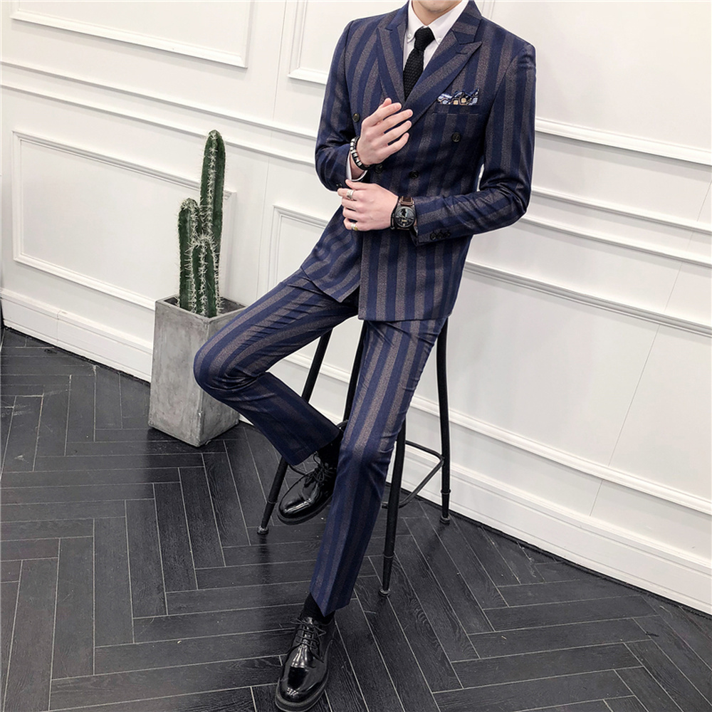 Tops Pants Vests Suits Men 39 s Double Breasted Groom Wedding Dresses Korean Slim Striped Small Suits Male 3 piece Groomswear in Suits from Men 39 s Clothing