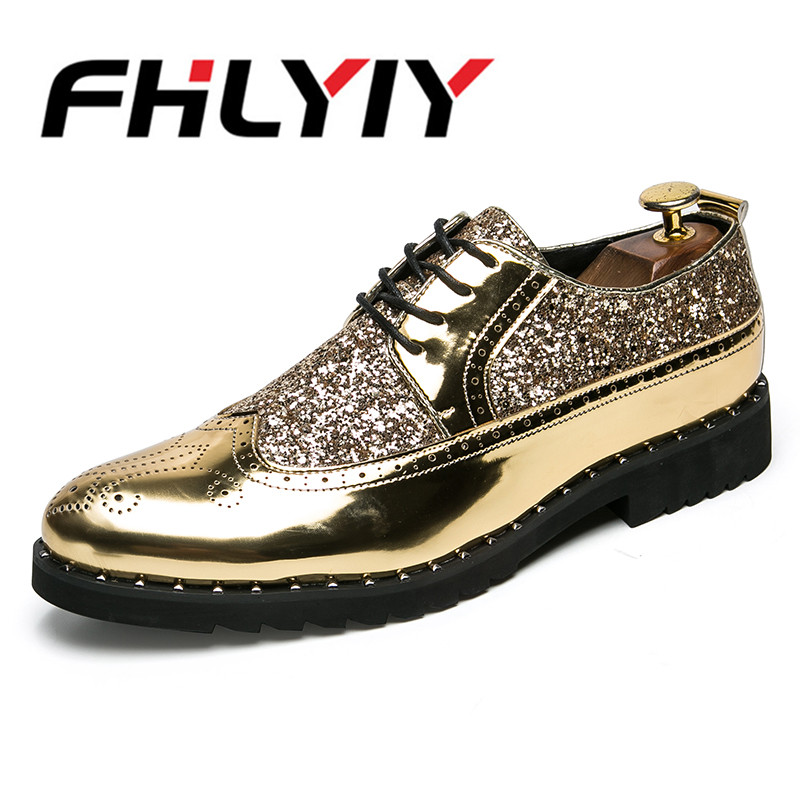 2018 Men Sequins Casual Shoes Leather Pointed Toe Party Office Wedding Office Lace Up Fashion Shoes Male Business Flat Men Shoes new 2018 fashion men dress shoes black leather pointed toe male business shoes lace up men falt office shoes yj b0035