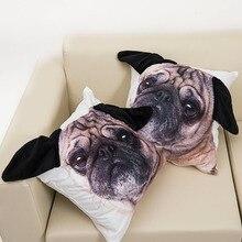 Animal 3D Ear Cute Pug Dog Big Face Pattern Print Custom Home Decorative Throw Pillow Case Almofadas Cushion Cover