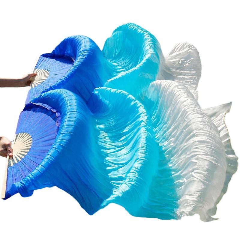 New Style Belly Dance Silk Fan 100% Real Silk Long Silk Fans Handmade Gradient Color Dance Fans Can Be Customized