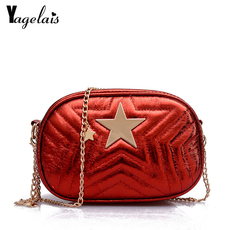 New Fashion Women Shoulder Chain Bag Strap Leather Flap Messenger Bags female Mini Clutch Bag Star Printed Small Pruse