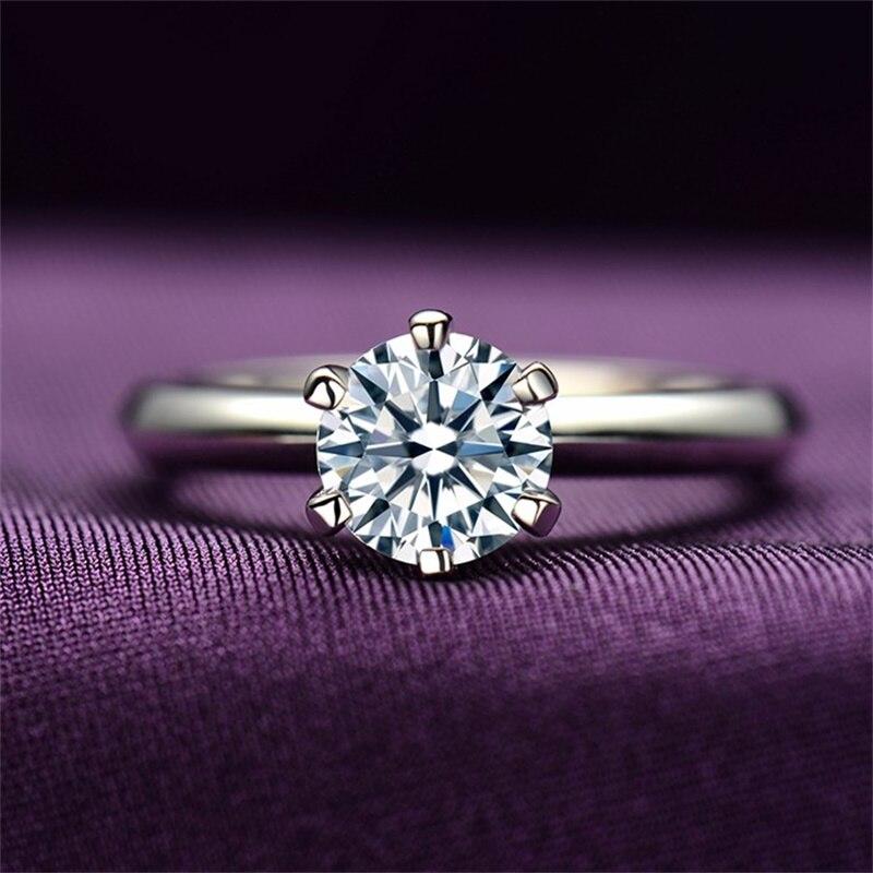 Яньхуэй 100% чистый оригинальный кольцо голдфилд Модные украшения 2 карат белого Solitaire кубического циркония Обручальные кольца для Для женщин HR1689