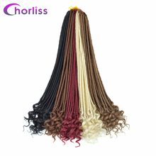 Chorliss 22'' Crochet Braids Faux Locs Synthetic Twist Hair Extensions Weave Crochet Hair Braiding Black Blonde 24Strands 85g(China)