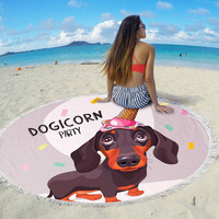 Fashion dachshund Dog Pattern Round Beach Towel With Tassels Microfiber 150cm Picnic Blanket Mat Tapestry ST1009