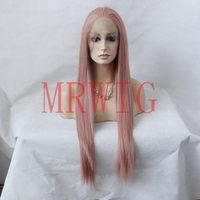 MRWIG Real Hair Dark Pink Free Part Synthetic Glueless Front Wig 26inch Cosplay Heat Resistant Fiber for African Americans