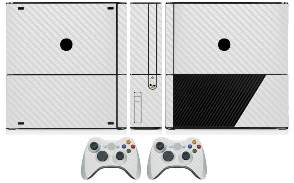 White Carbon Fiber Vinyl Skin Sticker Protector For Microsoft Xbox