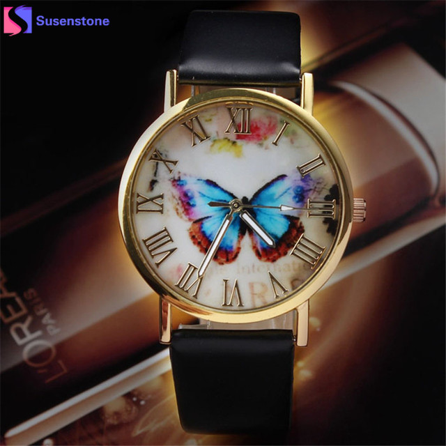 Fashion Watches Women Men Faux Leather Quartz Watch Butterfly Printed Roman Nume