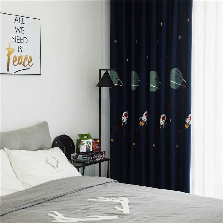 Ragazzo del fumetto spazio esterno blu navy alta blackout ricamato di Lusso Tessuto della tenda finito custom camera da letto dei bambini camera da letto