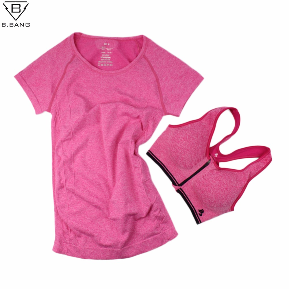 B.BANG Women Yoga Sets for Gym Running Sportswear Suit Sport T-shirt + Bra Set Sports Tops Quick-Dry Fitness Clothing for Woman yoga top sport t shirt women quick dry fitness clothing yoga shirt sports jerseys gym running boxing tank tops
