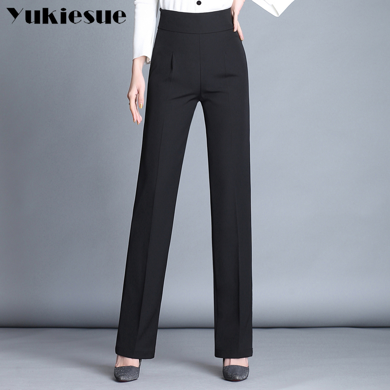 High waist straight   pants     capris   womens 2018 summer OL office formal casual full length wide leg   pants   female trousers Plus size