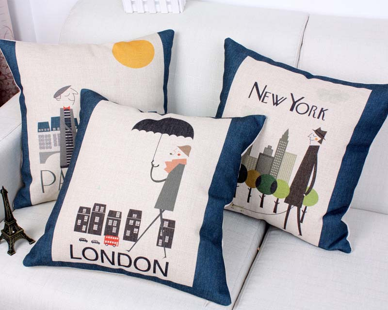 Modern City London Paris New York Life Cushion Cover Pillow Case Sofa Seat  Chair Decorative Linen Cotton Cushions Covers In Cushion Cover From Home U0026  Garden ...