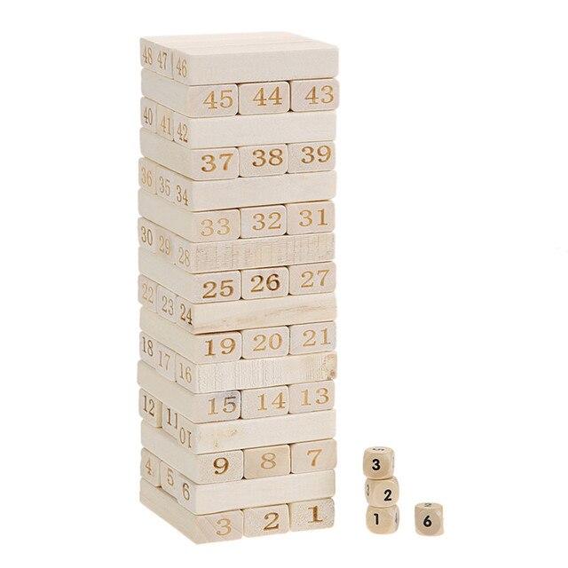 48 ШТ. Domino Блоки Деревянные Игрушки Цифровой Строительный Блок Детские Игрушки + 4 Кубики Укладчик Игрушки для Детей