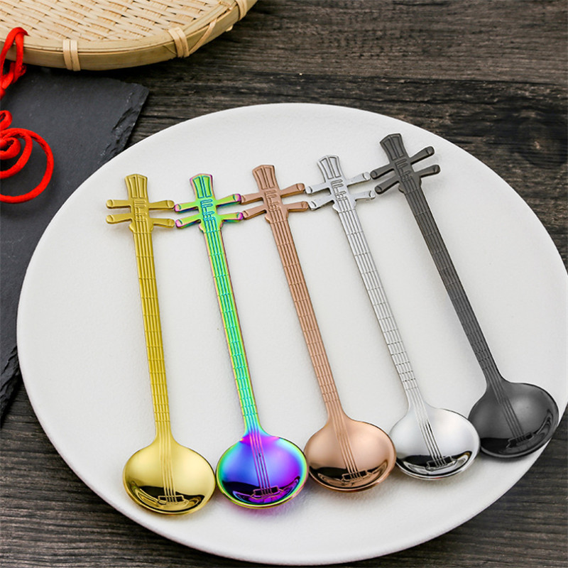Creative Yueqin Shaped Spoons Stainless Steel Coffee Stirring Scoops Music Spoon For Dessert Tea Ice Cream Cafe Bar Tableware